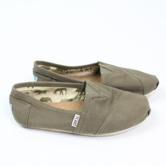 Toms Olive Green Canvas Classic Slip On